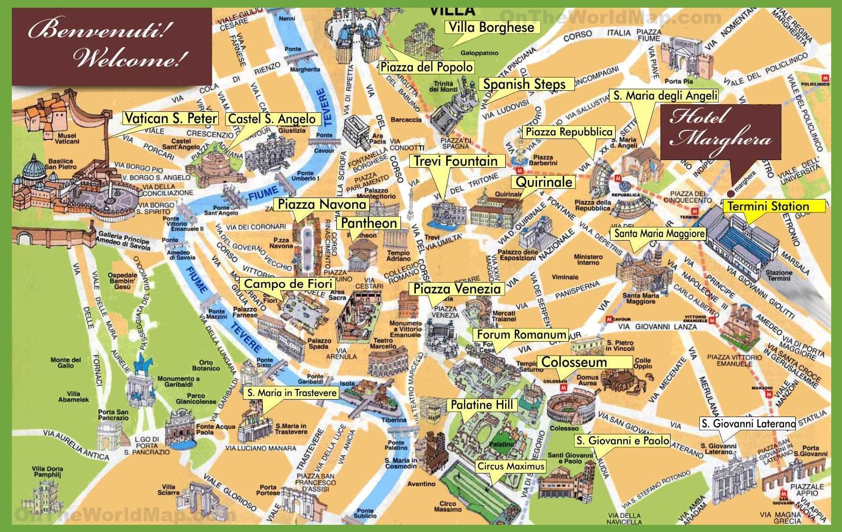 City Sightseeing I Rom Kort Kort Over Byen Sightseeing I Rom