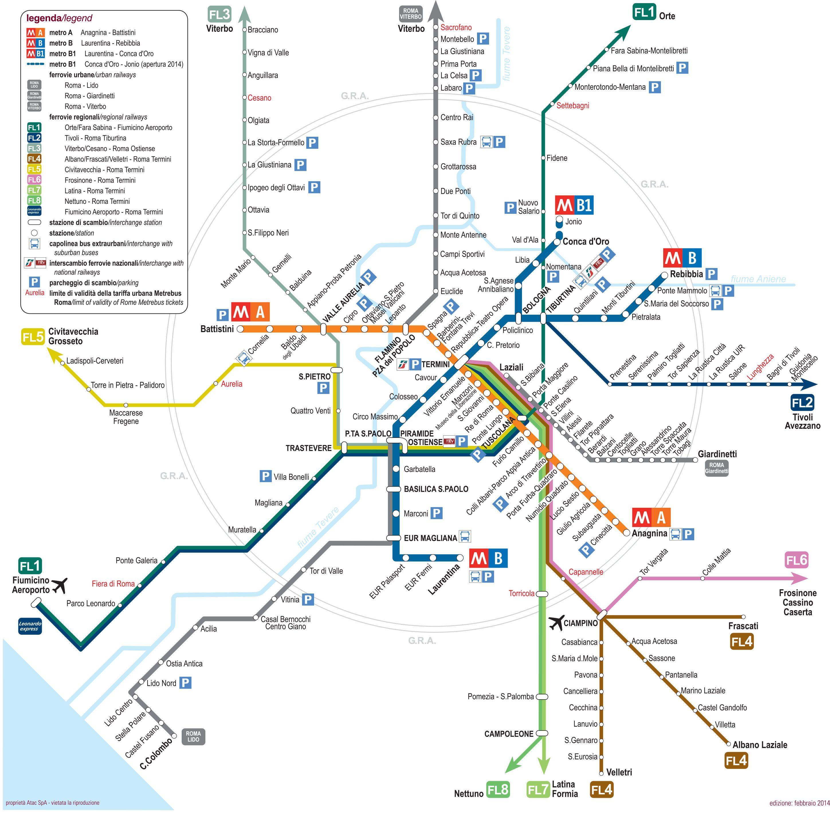 Rom Bus Og Metro Kort Turist Kort Over Rom Med Metro Stop Lazio