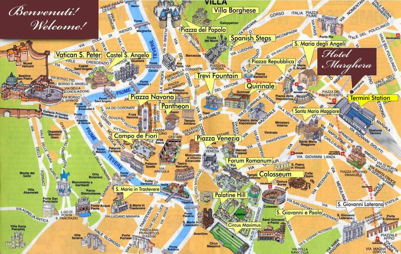 Rom Centrum Af Kort Kort Over Centrum Af Rom Italien Lazio