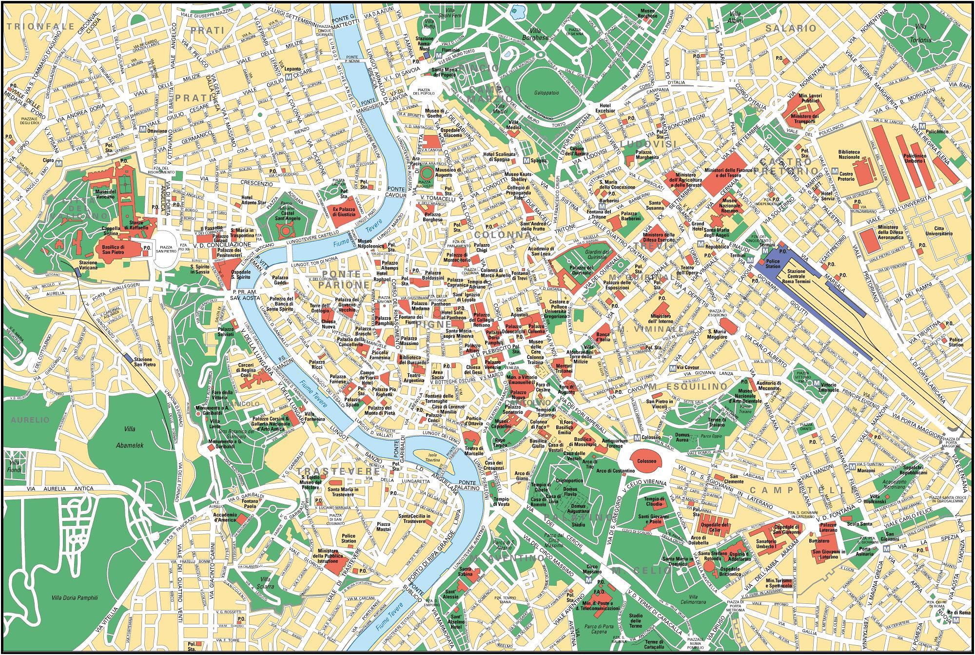 Rom Street Map Street Kort Over Rom Italien Lazio Italien