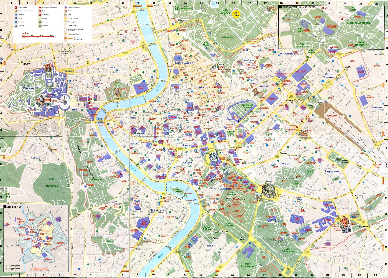 Stort Kort Over Rom Kort Af Ting At Se I Rom Lazio Italien