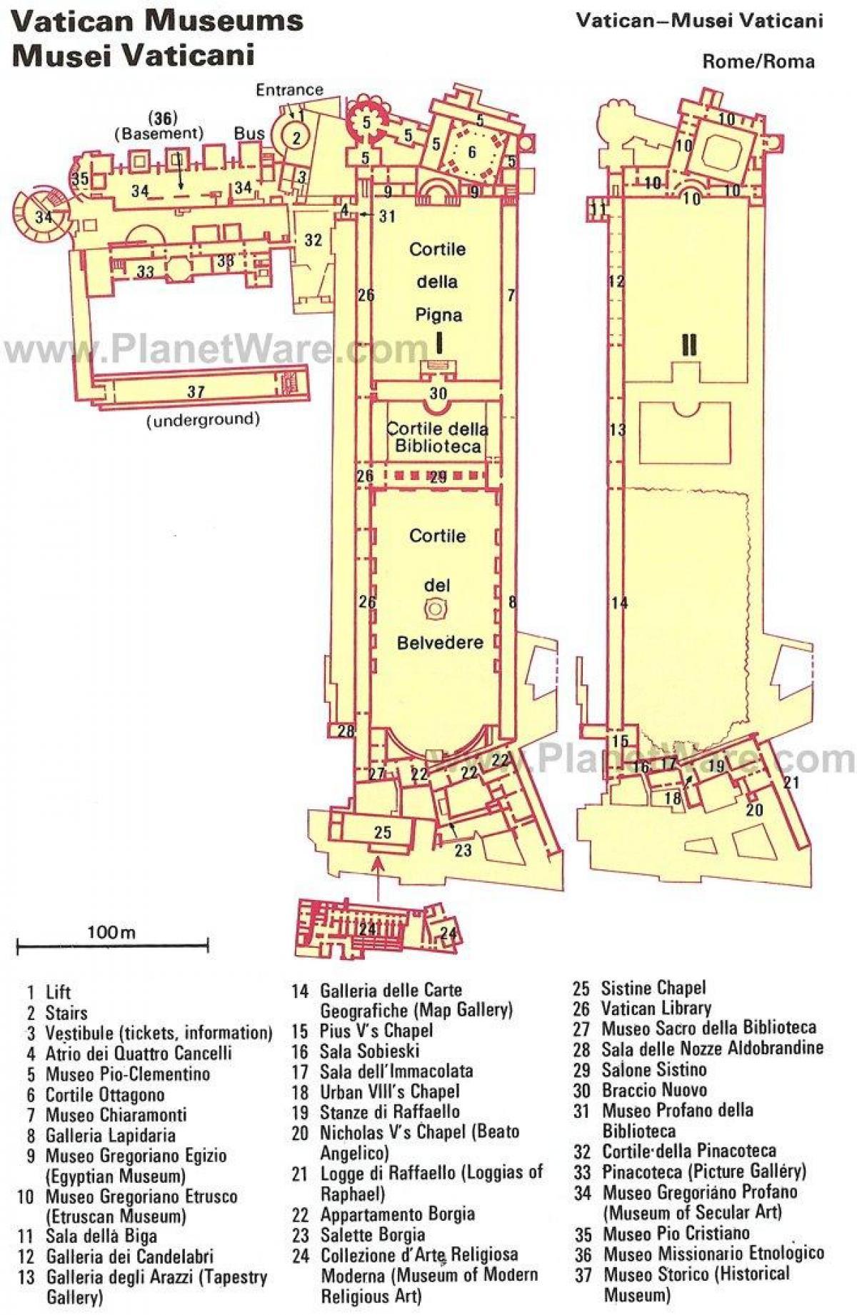 Kort Vatican Museum Layout Kort Af Vatikanet Museum Layout