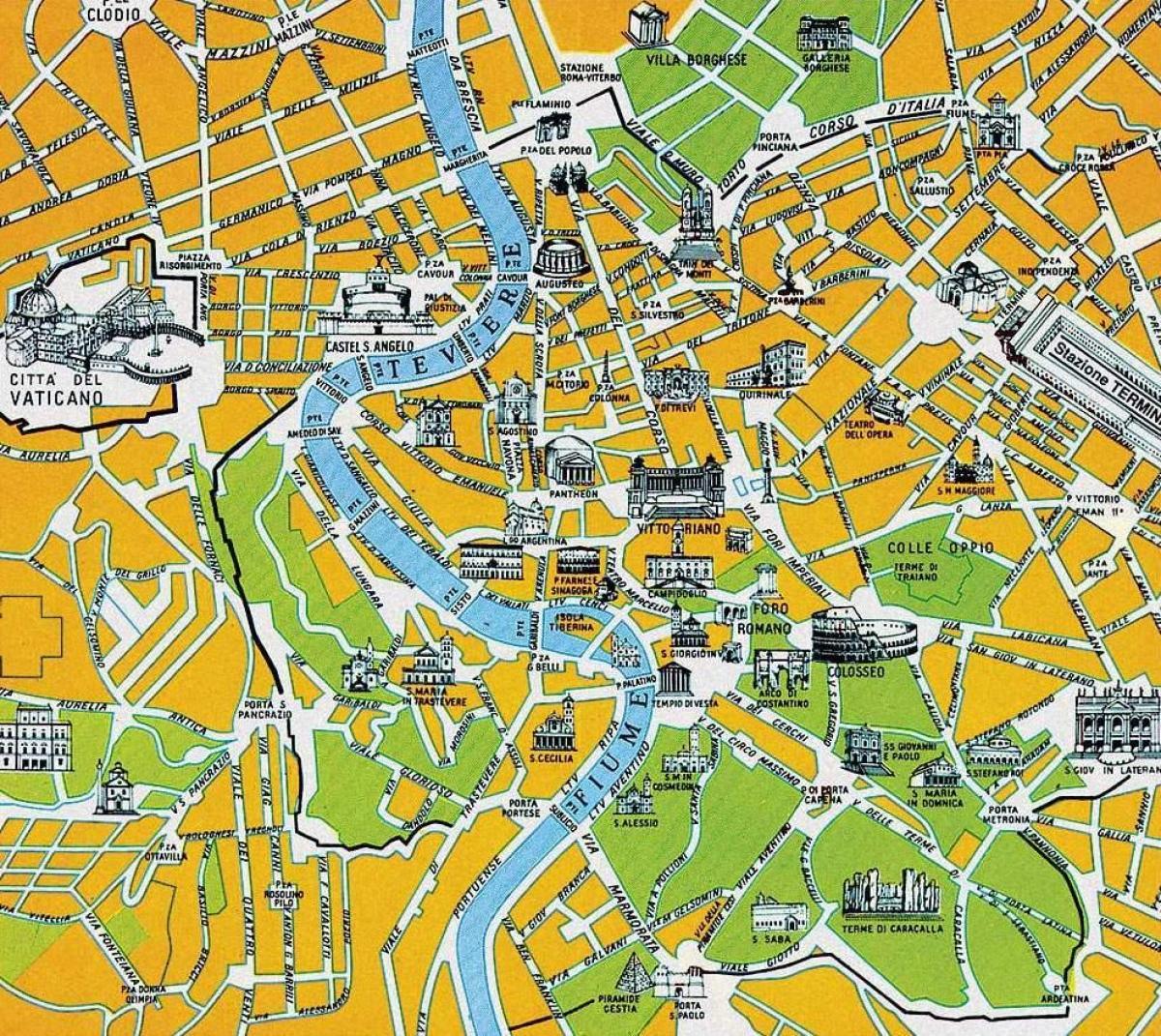 Rom Turist Kort I Hoj Oplosning Kort Over Rom Turist I Hoj