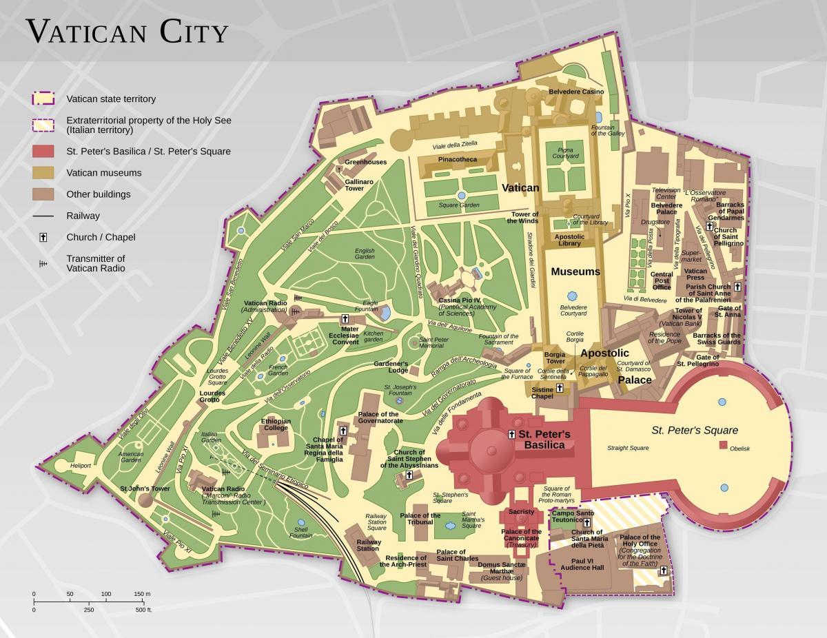Vatican City Map Kort Over Vatikanet Og Rom Lazio Italien